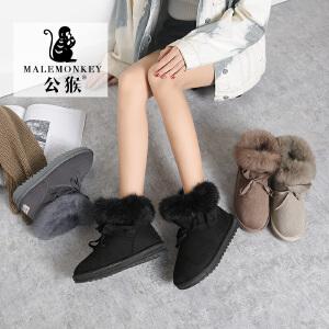 公猴人气爆款雪地靴女新款棉鞋加绒加厚韩版舒适时尚百搭学生短筒面包棉靴冬季