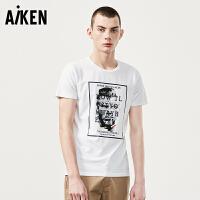 森马旗下爱肯Aiken男装短袖T恤男士夏装新款潮流圆领半袖体恤男街头