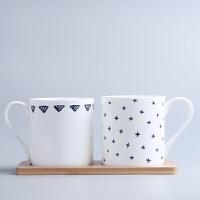 创意陶瓷漱口杯骨瓷刷牙杯子洗漱杯牙杯情侣牙刷杯浴室洗漱牙缸 套装(送竹木托板)