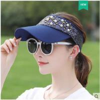 珍珠亮片空顶帽大沿鸭舌帽青年遮阳帽韩版时尚运动太阳帽棒球帽女防晒