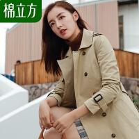 春季风衣女中长款棉立方2019新款韩版纯色休闲系带bf外套修身上衣