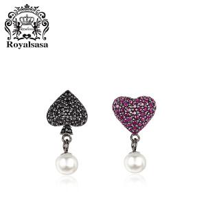 皇家莎莎925银爱心耳钉女韩版小清新镶钻心形贝珠珍珠简约耳饰品女
