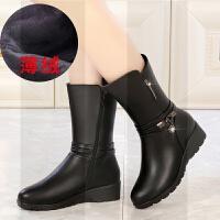 ����鞋冬季加�q保暖棉鞋真皮中老年靴子女中筒靴平底大�a�底皮靴SN1179
