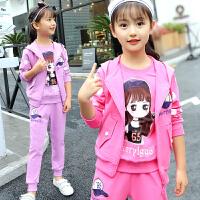 童装女童春装套装新款时尚洋气小女孩衣服儿童卫衣运动三件套