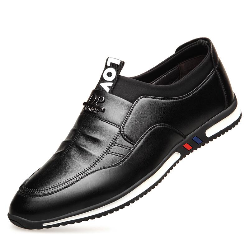 男士休闲皮鞋男韩版潮流商务休闲鞋冬季保暖一脚蹬内增高男鞋