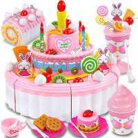 �和�蛋糕玩具套�b女孩切切�放�童3-5�q水果冰淇淋�6-8生日�Y物