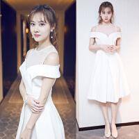 小礼服2018新款宴会年会主持人礼服晚宴生日派对连衣裙显瘦晚礼服 白色