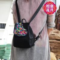 双肩包女时尚民族风休闲个性百搭迷你小包2017新款绣花包女士背包