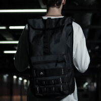 街头潮流时尚机能双肩背包男 大学生书包旅行旅游登山包行李包袋 黑色