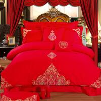 婚庆四件套大红床品纯棉新婚喜被全棉结婚六八十件套刺绣床上用品