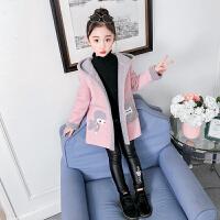 女童外套秋冬2018新款韩版时髦中大童毛呢大衣儿童加厚中长款呢子