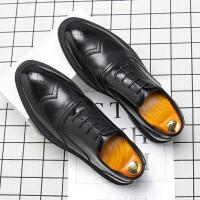 秋季增高男鞋英伦布洛克鞋男商务休闲皮鞋男黑色尖头结婚鞋男