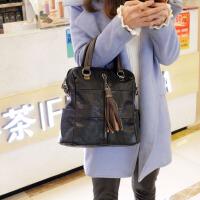2018新款时尚真皮女包韩版复古牛皮流苏双肩包多功能背包潮手提包SN9617