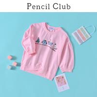 【3件2折:35.8】铅笔俱乐部童装2020春夏新款女童错位拼接卫衣中大童插肩T恤儿童