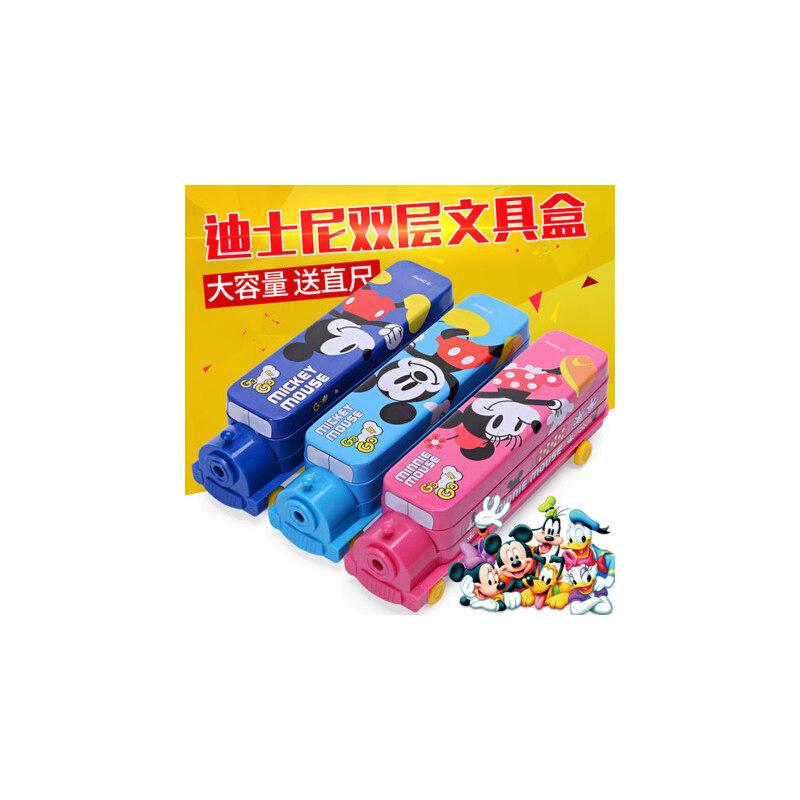 小学生文具盒迪士尼儿童多功能铅笔盒创意火车大双层男女铁盒笔盒 迪士尼正品、多层笔盒,带削笔机