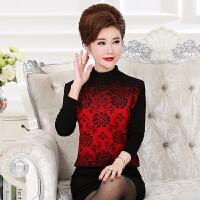 妈妈装长袖打底衫女t恤中年新款秋装中老年40-50岁半高领女式毛衣
