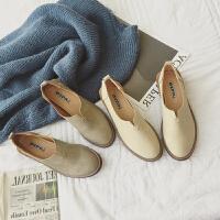 2017秋季新款平底单鞋女圆头英伦学院风小皮鞋简约复古舒适奶奶鞋