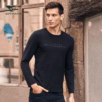 七匹狼长袖T恤 圆领青年男士时尚休闲黑色莫代尔男装潮流秋季