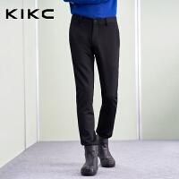 kikc休闲裤男2017冬季新款修身低腰小脚裤潮流休闲时尚黑色长裤男