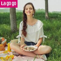 Lagogo2019夏季时尚宽松韩版女雪纺衫短袖一字领小心机刺绣上衣HASS314A09