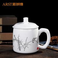 陶瓷茶杯 陶瓷带盖水杯办公会议杯子商务开会杯可定制LOGO