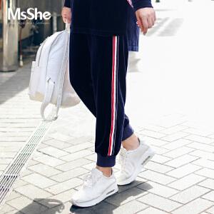 MsShe大码女装2017新胖mm秋装弹力针织丝绒松紧腰运动裤M1740151