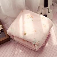 ???午睡毯子薄床单可爱法兰绒毛毯办公室加厚双人学生夏季薄款珊瑚绒 粉红色