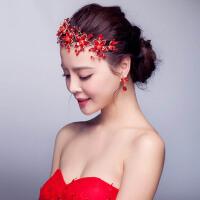 新娘头饰红色花朵结婚发饰婚礼饰品婚纱礼服配饰