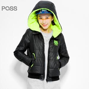 PASS原创潮牌冬装 抓绒短款保暖带帽拉链翻盖设计口袋棉服女6540842040