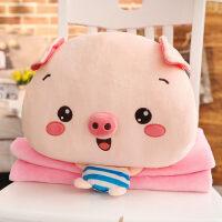 猪猪暖手抱枕插手毛绒可爱冬天女被子两用毯子三合一捂手学生懒人
