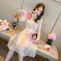 2019春装新款韩版长袖中长款蕾丝连衣裙V领无袖马甲两件套套装女