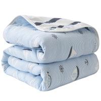 六层纱布毛巾被加厚单双人午睡盖毯婴儿童夏凉被 湖蓝色 火烈鸟/6层(新)