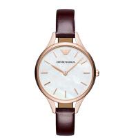 阿玛尼(EmporioArmani)手表皮质表带经典时尚休闲石英女士时尚腕表AR11057