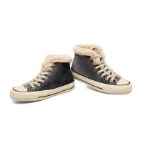 韩版加绒帆布鞋二棉女学生百搭板鞋高帮加棉保暖棉鞋冬鞋软底
