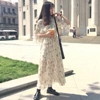 碎花连衣裙女2018春夏新款韩版复古气质显瘦长款喇叭袖雪纺裙子潮