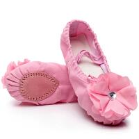 表演花朵钻幼儿童舞蹈鞋软底女童芭蕾舞鞋帆布跳舞猫爪练功鞋