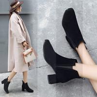 高跟鞋女秋冬2018新款浅色踝靴杏色裸靴粗跟裸色网红瘦瘦小短靴子SN9623 34 单层