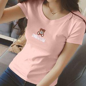 夏季新款女圆领修身半袖上衣百搭打底衫小熊刺绣短袖T恤