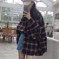 复古格子毛呢衬衫女秋冬新款韩版bf宽松显瘦中长款蝙蝠袖衬衣外套