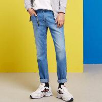 【狂欢返场,专区1件3折】美特斯邦威牛仔裤男修身小脚2018春装新款潮流长裤韩版百搭学生