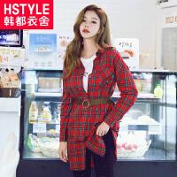 韩都衣舍2017韩版女秋装新款显瘦格子开衫两穿长袖连衣裙