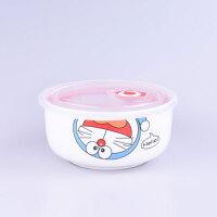 萌碎 保鲜盒陶瓷圆形便当盒密封套装碗带盖单个微波炉加热饭盒分隔创意家居家用保鲜盒 hello 猫大碗带盖