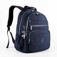 20180510211401667新款洗水尼龙布女包多层口袋大容量双肩包 中号旅行背包休闲书包