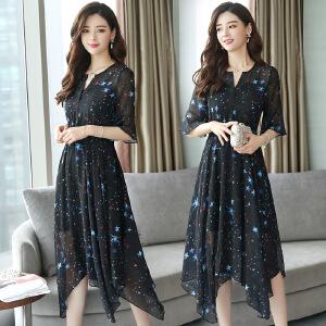 2018夏季新款女装韩版显瘦印花裙子不规则中长款碎花雪纺连衣裙女