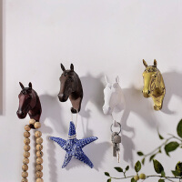 奇居良品 树脂家居饰品摆件 现代简约壁饰格恩小马头墙面挂钩