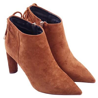 2018秋冬季粗跟短靴尖头高跟绒面侧拉链马丁靴欧美蝴蝶结加绒女靴子