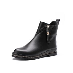 如熙短靴秋冬季新款女靴子中跟圆头时装靴休闲鞋子粗跟女鞋