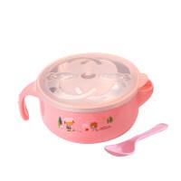W辅食碗 小孩吃饭碗婴儿辅食碗宝宝餐具不锈钢碗儿童注水保温碗摔带盖勺O