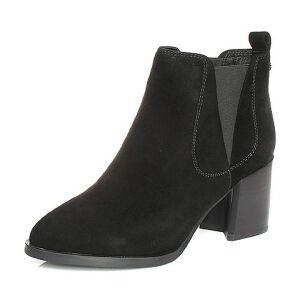 Teenmix/天美意2017冬羊绒皮时尚珠饰粗跟切尔西靴女短靴16803DD7