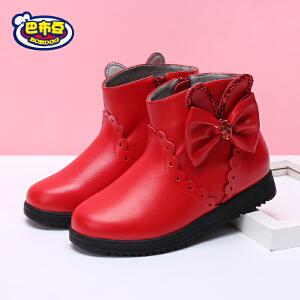 巴布豆童鞋女童靴子秋冬短靴2017新款韩版公主加绒女童皮靴马丁靴